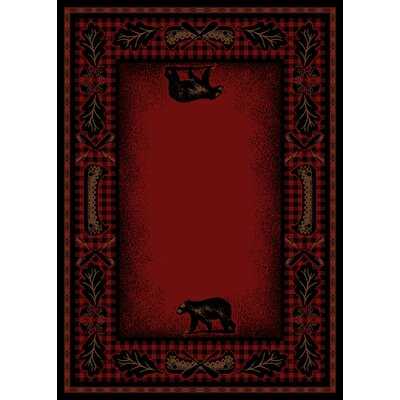 American Destinations Red/Black Area Rug Rug Size: Rectangle 23 x 33