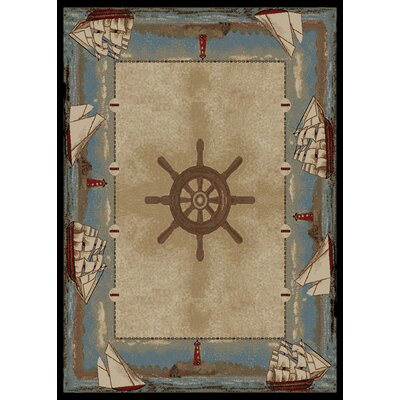 American Destinations Beige/Light Blue Area Rug Rug Size: Rectangle 8 x 10