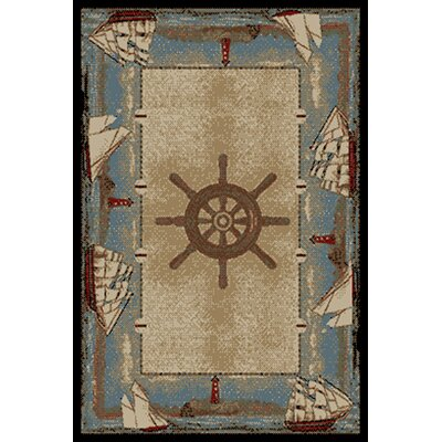 American Destinations Beige/Light Blue Area Rug Rug Size: 2 x 3