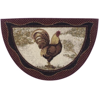 Cozy Cabin Tall Rooster Kitchen Mat Rug Size: Wedge 17 x 27