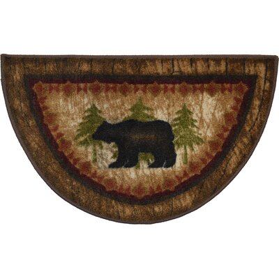 Cozy Cabin Birch Bear Kitchen Mat Rug Size: Wedge 17 x 27