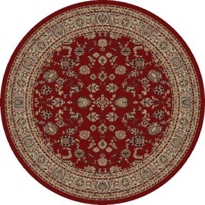 Heritage Elegant Keshan Claret Area Rug Rug Size: Round 8