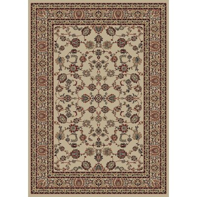 Heritage Elegant Keshan Ivory Area Rug Rug Size: Rectangle 53 x 77