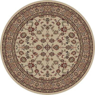 Heritage Elegant Keshan Ivory Area Rug Rug Size: Round 8
