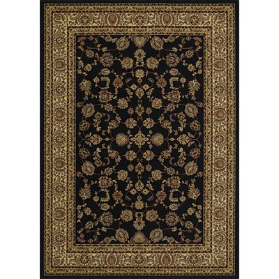Heritage Elegant Keshan Ebony Area Rug Rug Size: Rectangle 53 x 77
