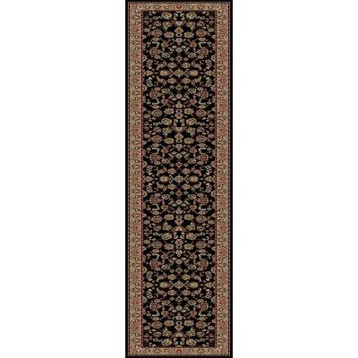 Heritage Elegant Keshan Ebony Area Rug Rug Size: Runner 27 x 91