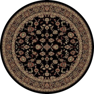 Heritage Elegant Keshan Ebony Area Rug Rug Size: Round 8
