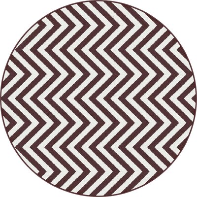 Urban Chevron Brown/White Area Rug Rug Size: Round 53