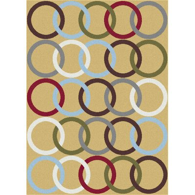 Urban Contemporary Circles Gold Area Rug Rug Size: Rectangle 53 x 73
