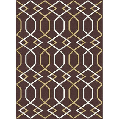 Urban Contemporary Lines Brown Area Rug Rug Size: Rectangle 53 x 73