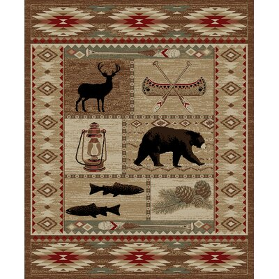 American Destinations Brown Area Rug Rug Size: Rectangle 53 x 73