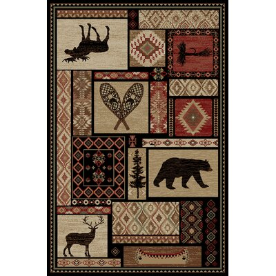 Lodge King Black/Beige Area Rug Rug Size: Rectangle 53 x 77