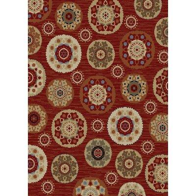 Timeless Deco Pinwheel Claret Area Rug Rug Size: 8 x 10