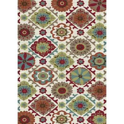 Brighton Cream/Red Area Rug Rug Size: 710 x 910