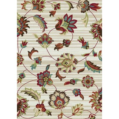 Brighton Ivory/Red Area Rug Rug Size: 53 x 73