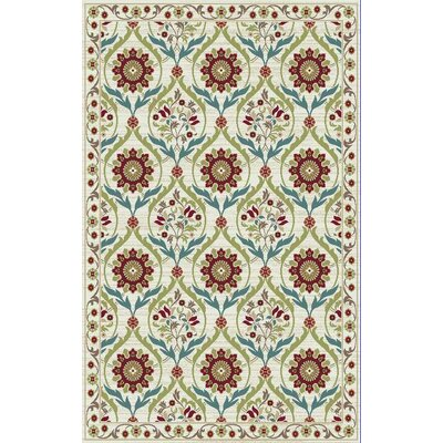 Brighton Cream/Red Area Rug Rug Size: 53 x 73