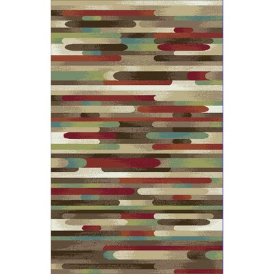 Brighton Brown/Red Area Rug Rug Size: 53 x 73