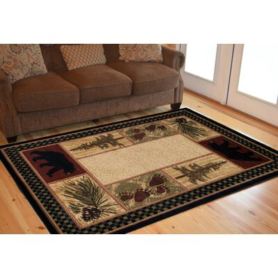 American Destinations Beige/Black Area Rug Rug Size: Runner 2 x 8