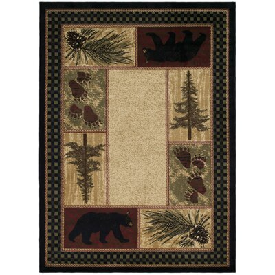 American Destinations Beige/Black Area Rug Rug Size: Rectangle 53 x 311