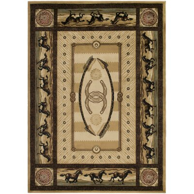 American Destinations Beige/Black Area Rug Rug Size: Rectangle 5 x 8