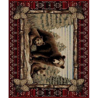 Lodge King Grizzly Gap Cabin Red Area Rug Rug Size: 710 x 910