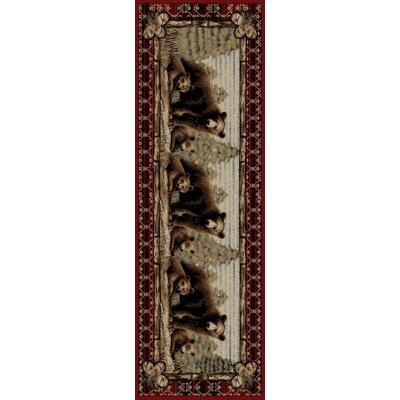 Lodge King Grizzly Gap Cabin Red Area Rug Rug Size: Runner 23 x 77