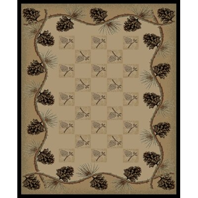 Lodge King Pine Bluff Cabin Ivory Area Rug Rug Size: 710 x 910