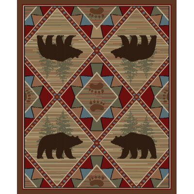 Hearthside Echo River Bear Cabin Multi Area Rug Rug Size: 710 x 910