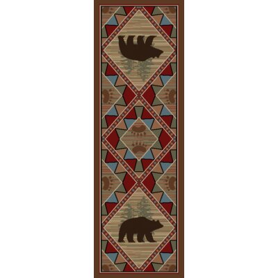 Hearthside Echo River Bear Cabin Multi Area Rug Rug Size: Runner 23 x 77