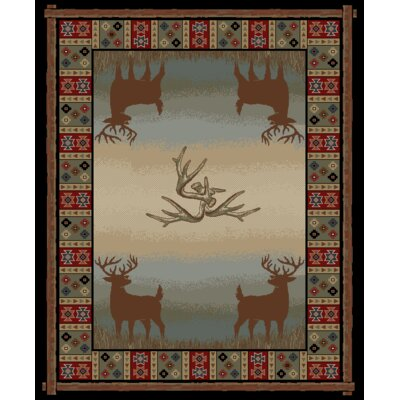 Hearthside Open Range Deer Lodge Multi Area Rug Rug Size: 53 x 73