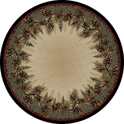 American Destinations Beige/Green Area Rug Rug Size: Round 53