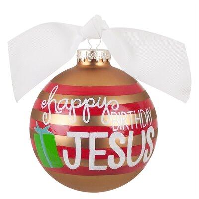 Happy Birthday Jesus Striped Glass Ornament RELIG-HBJSTR