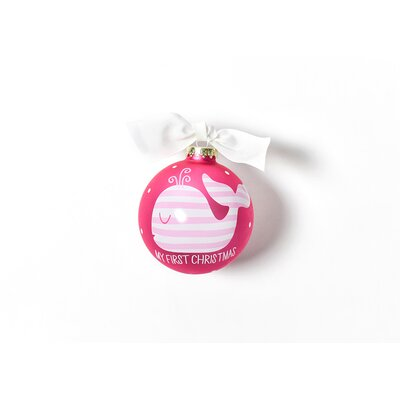 My First Christmas Whale Glass Ornament Color: Pink