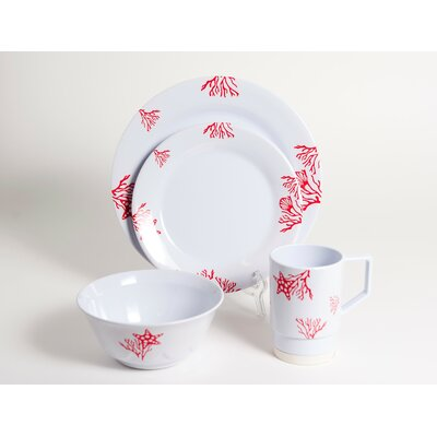 Decorated Coral Melamine 16 Piece Dinnerware Set