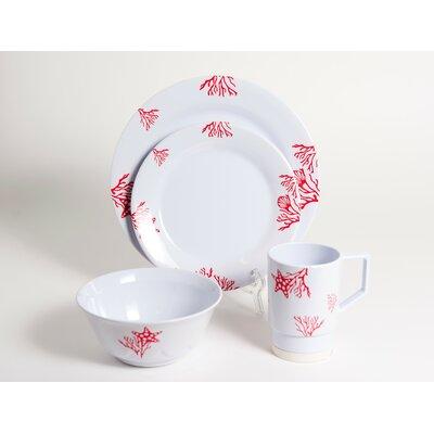 Decorated Coral Melamine 16 Piece Dinnerware Set
