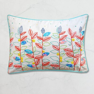 Exotic Profusion Clustered Leaf Embroidered Cotton Lumbar Pillow