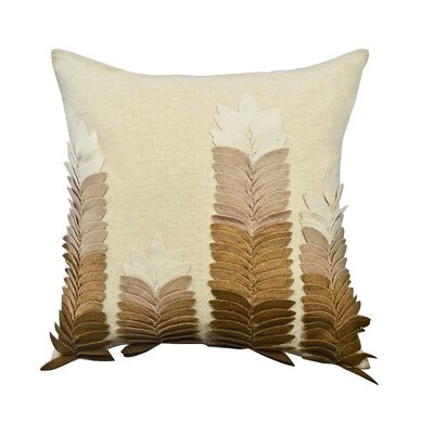 Potpourri Felt Leaves Applique Cotton Throw Pillow