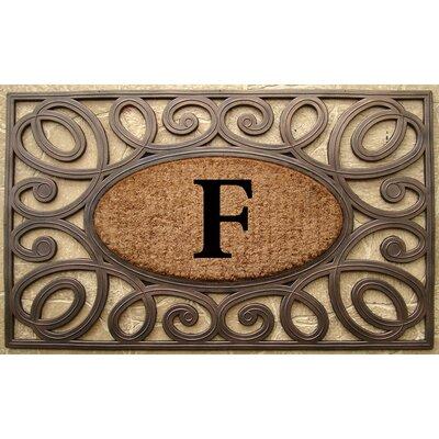Elegant Circles Princess Monogrammed Doormat Letter: F