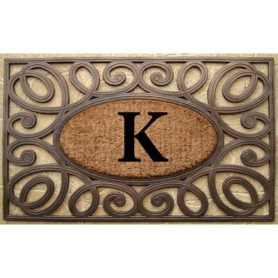 Elegant Circles Princess Monogrammed Doormat Letter: K