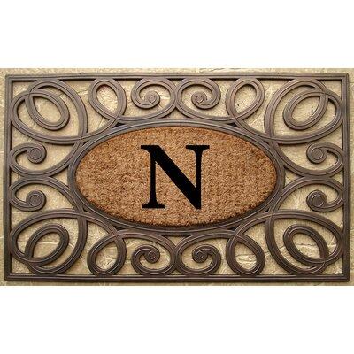 Elegant Circles Princess Monogrammed Doormat Letter: N