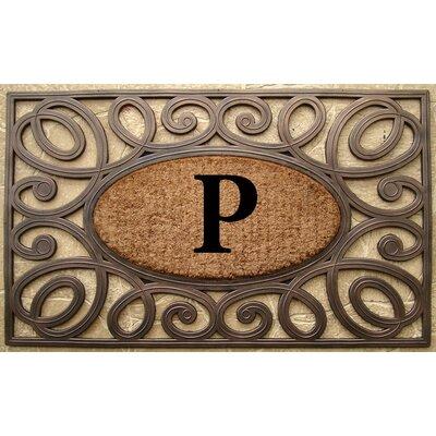 Elegant Circles Princess Monogrammed Doormat Letter: P