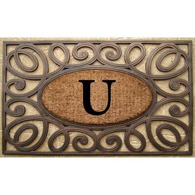 Elegant Circles Princess Monogrammed Doormat Letter: U