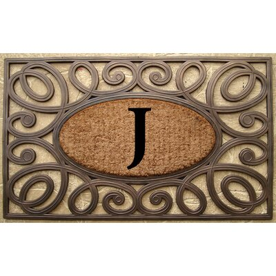 Elegant Circles Princess Monogrammed Doormat Letter: J