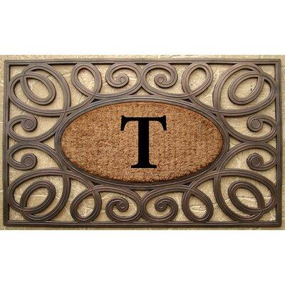 Elegant Circles Princess Monogrammed Doormat Letter: T