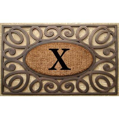 Elegant Circles Princess Monogrammed Doormat Letter: X