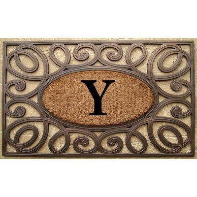 Elegant Circles Princess Monogrammed Doormat Letter: Y