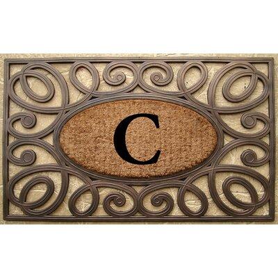 Elegant Circles Princess Monogrammed Doormat Letter: C