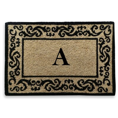 Filigree Decorative Border Monogrammed Doormat Letter: A