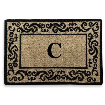 Filigree Decorative Border Monogrammed Doormat Letter: C