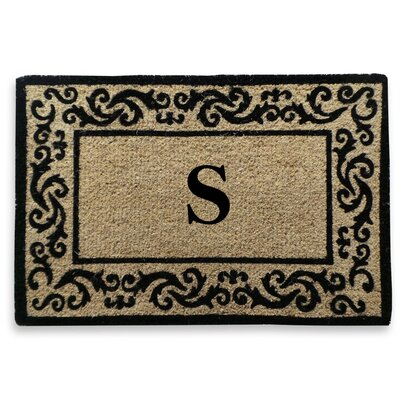 Filigree Decorative Border Monogrammed Doormat Letter: S